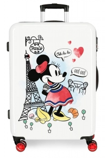 ABS Cestovný kufor Minnie Around the World Paris Red 68 cm